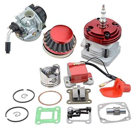 Carkio Vergaser-Luftfilter-Zündspulen-Set, 44 mm Zylinder, große Bohrung, 53 cc 54 cc Zündkerze, L7T, Top-Kit, Kolbenersatz für 47 cc 49 cc 2-Takt-Motor, Pocket Bike, Mini Cacing Bike