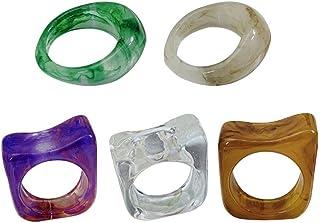 HUANG 5 uds, Anillo de Resina, Anillos acrílicos, Anillo de Banda geométrica Irregular, Anillo Transparente Colorido, joye...