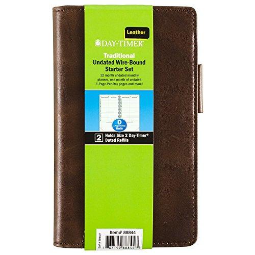 DayTimer 8884402A Day-Timer Aviator Distressed Leather Wallet Starter Set, Undated, Wirebound, Pocket Size, 3.5 x 6.5 Inches, Dark Tan (88844)