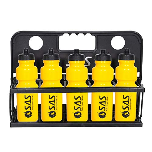SAS SPORTS Foldable Water Bottle Carrier Made of PVC for Any Team Sports, Outdoor Sports, Camping, Hiking (Black, Yellow) - 10 Bottles
