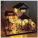 DIY Puppenhaus Fantasie-alte Stadt Zwei Stockwerke Haus Einrichtung Pavillon und Sprinkler...