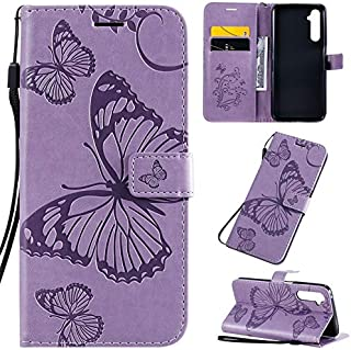 Yhuisen Butterfly Flower Floral Pattern PU Leather Wallet Stand Case with Wrist Strap for OPPO Realme 6 Pro (Color : Purple)