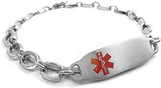 Pre-Engraved & Customizable Blood Type O Alert, Steel Oval Link Medical Bracelet