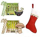 "Archie Mcphee Christmas Candy Canes! Includes Pho Candy Canes 3.8 Oz, Shitake Mushroom Candy Canes 3.8 Oz & Christmas Stocking 15""! Pho And Mushroom Flavored Candy! Christmas Candy Stocking Stuffer!"