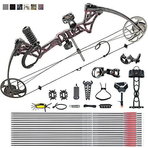 Adult Compound Bow Package,USA Gordon Limbs,Fully Adjustable 19-30' Draw Length Without Bow Press,19-70Lbs Draw Weight,Hunting Compound for Beginners, Right Hand (Muddy Girl)