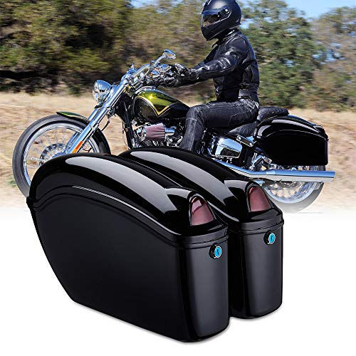 Motorcycle Hard Saddlebags, Mid-size Motorcycle Hard Saddle Bags with Turn Signal, Compatible with Softail Shadow Vulcan Vstar Boulevard with Mounting Kits, Universal, Black