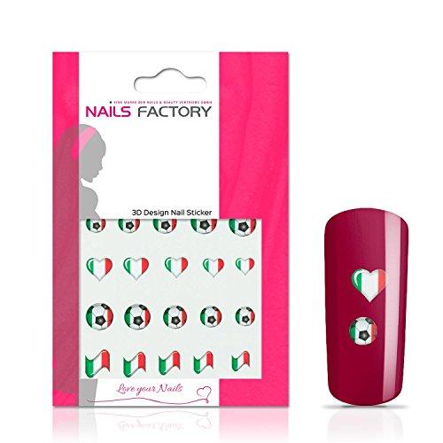 N&BF Nail Art nagelstickers voetbal | Socccer nagelsticker Italië / Italië | Italiaanse vlaggen stickers voor kunstnagels en natuurlijke nagels | 3D nageltattoos voor WK & EM | landvlaggen transfersticker