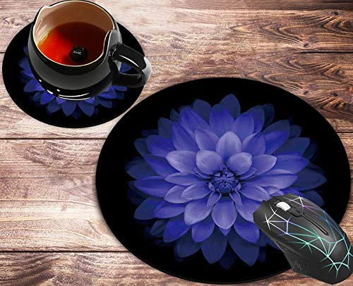 Round Mouse Pad and Coasters Set, Purple Flowers Mousepad, Anti Slip Rubber Round Mousepads Desktop Notebook Mouse Mat for Working and Gaming