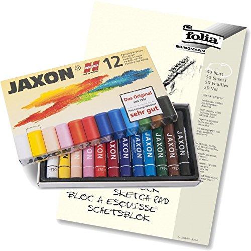 JAXON by Honsell - 47412 - Ölpastellkreide 12er Set + Qualitäts-Skizzenblock A4