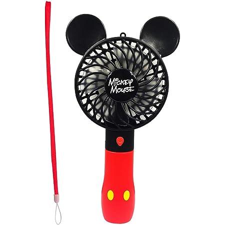 ディズニー 携帯扇風機 ハンディ扇風機 小型 usb首掛け かわいい 充電式 ディズニーハンディ扇風機2 3段階調節 (ミッキー)
