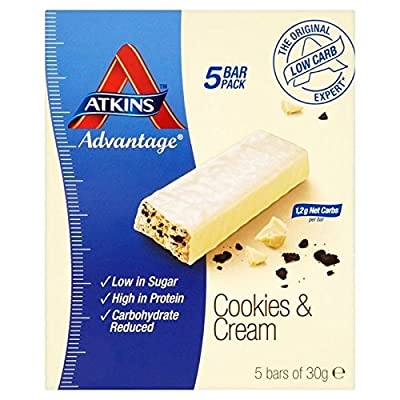 Atkins Advantage Cookies & Cream bars 5 x 30g - Pack of 2