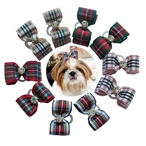 petalk 20Pcs/Pack Plaid Dog Bows Puppy Topknot 2-Lays Small Dog Hair Bows with Rubber Bands Dog Grooming Accessories (Plaid)