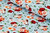 Nadeltraum Baumwoll - Jersey Stoff Vögel und Blumen als