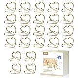 AIEVE - Soporte para tarjetas con números de mesa, metal con forma de corazón y espiral, soporte para tarjetas para bodas, oficinas, fiestas de cumpleaños, 24 unidades