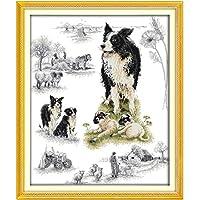 刺繍キットDIY刺繍セット 羊飼い犬58cm×69cm 初心者向け クロスステッチキット 刺しゅうセット き 刺繍糸 刺繍用布 刺繍工具
