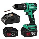 """Enegitech Handheld 18V Impact & Hammer Drill Driver 1/2"""" Chuck, Brushless Cordless Power Tool with 2 x 4.0Ah Batteries 1 x Fast Charger for Jobsite Maintenance"""