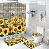 4 Stück Sonnenblume Duschvorhang-Sets mit rutschfestem Teppich, WC-Deckelbezug & Badvorleger Holzbrett Duschvorhang mit 12 Haken Wasserdicht Langlebig Duschvorhang für Badezimmer