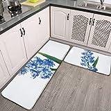 2 alfombras de cocina y alfombra, doble flor vintage Redoute antideslizante alfombra de cocina y alfombras de franela suave antideslizante para sala de estar, dormitorio, cocina