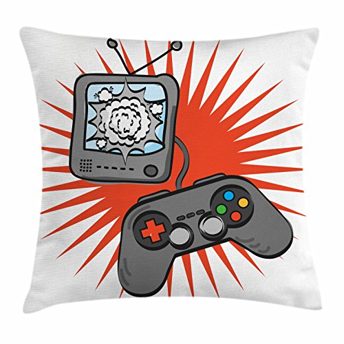 """Lunarable Games Throw Pillow Cushion Cover, Kids Video Games Themed Design in Retro Style Gamepad Console Entertainment, Decorative Square Accent Pillow Case, 24"""" X 24"""", Grey Orange"""