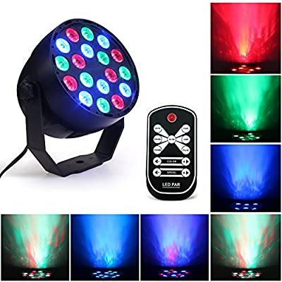 Led Stage Light,3Wx18 LEDs Disco Party Lights 7 Colors RGB LED Par Lampe,DMX512 DJ Spotlight Sound Activated Mini Projector with Remote Control for Bar Club Birthday Wedding Parties Lighting (GRB)