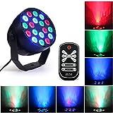 Luces De Etapa,3Wx18 LEDs RGB Disco Luz de Fiesta 7 Colores LED Par Lámpara,DMX 512 DJ Control de...