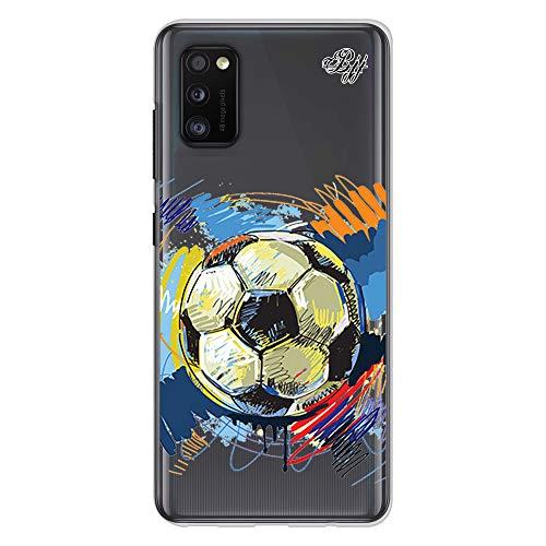 BJJ SHOP Transparent Slim Hülle für [ Samsung Galaxy A41 ], Klar Flexible Silikonhülle, Design : Abstrakter Fußball