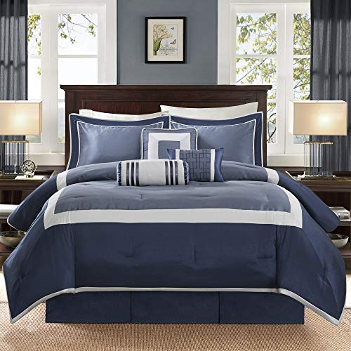 """Madison Park Cozy Comforter Set-Deluxe Hotel Collection All Season Down Alternative Luxury Bedding with Matching Shams, Decorative Pillows, Queen(90""""x90""""), Genevieve, Navy"""