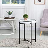Glitzhome Rustic Metal End Table,Folding Galvanized Side Table Waterproof Imitation Enamel Coffee Table Sofa Side Table with Removable Tray for Living Room Bedroom Balcony and Office Decoration