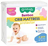 2-Pack Ultra Soft Crib Mattress Protector by Dellabella | 100% Hypoallergenic Bamboo. Stylish and a Perfect Fit for Cribs & Toddler Beds. Soft, Breathable, Quiet, Waterproof Crib Mattress Cover