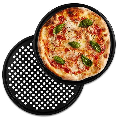 TW24 Alpina Pizzablech rund 33 cm Pizzabackblech Set 2 Stück Pizza Flammkuchen Backblech Flammkuchenblech Rundblech
