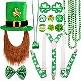 Qpout St. Patricks Party Kostüm Set, Shamrock Hut mit Bart, Shamrock Halsketten, Fliege,...