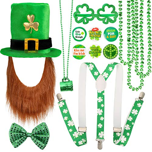 Qpout St. Patricks Party Kostüm Set, Shamrock Hut mit Bart, Shamrock Halsketten, Fliege, Brille,Buttons Pins, Hosenträger, Grün irische St. Patricks Day Party Kostüm Zubehör Dekoration
