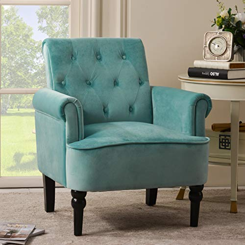 Merax Accent Chair Armchair for Bedroom, Living Room or Office, Elegant Button Tufted Roll Arm Design with Wooden Legs, Club, Turquoise