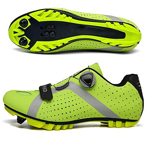 LU-Model Zapatillas de Ciclismo Extreme 3.0 MTB,con Suela de Carbono y Triple Tira de Velcro de sujeción ademas de Puntera de Refuerzo. Yellow-45
