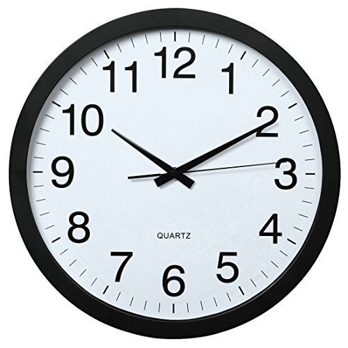 Hama Wanduhr XXL (Große Uhr ohne tickgeräusche, 40cm großes Ziffernblatt, geräuscharme und analoge Wand-Uhr) schwarz