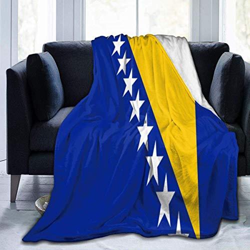 AEMAPE Manta de Tiro de Bandera de Bosnia para sofá, Mantas cálidas de Felpa Suave y Ligera, sofá Cama de 60 x 80 Pulgadas