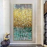 HYFBH Pittura Astratta su Tela Dorata di Grandi Dimensioni Poster in Oro Verde Stampe di Lusso Moderno Immagine da Parete per Soggiorno Decorazioni per la casa 40x80 cm (16x32 Pollici) Senza Cornice