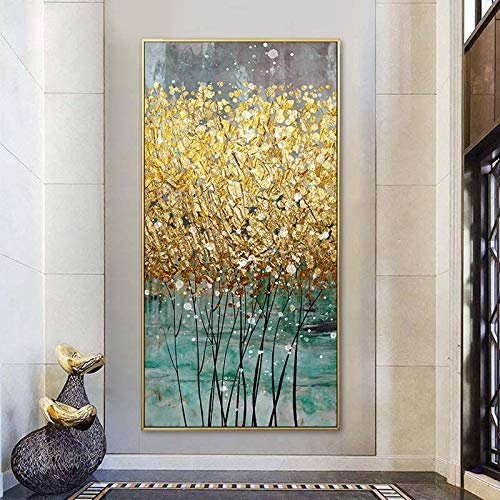 Wall Art Pictures Abstract Golden Canvas Painting Green Gold Modern Luxury Posters Prints Cuadros for Living Room Home Decor-60x120cm No Frame