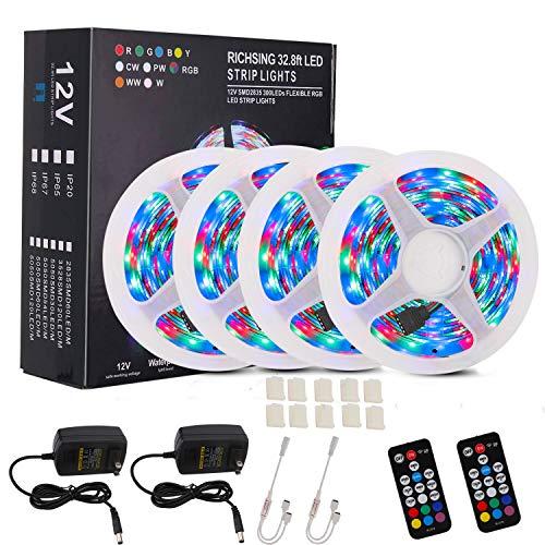 Richsing LED Strip Lights 65.6ft/20M RGB LED Light Strip with Remote SMD2835 4 Pack 1200LEDs 12V Led Lights for Bedroom Garden Party