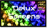 Delux Screens (US Based Business) 110 inch 4K/8K Ultra HDR UHD Projector Screen - Active 3D Ready - 6 Piece Fixed Frame Projection Screen PVC Matte White Velvet Border 110', 16:9