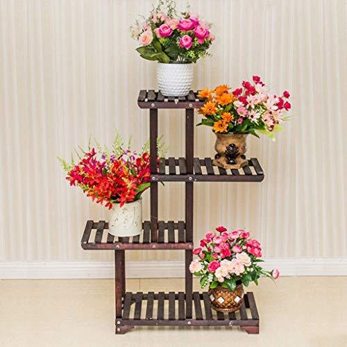 Wghz Soporte de Flores Soportes para Plantas Estante de Flores Soporte para macetas Madera Maciza Aterrizaje Multicapa Soporte de exhibición de Flores para Interiores y Exteriores