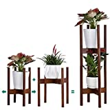 Plant Stand Pack of 2, Stackable & Adjustable Plant Stands Indoor, 2 Tier Indoor Plant Stand Tall 30'', Corner Plant Stand Indoor & Modern Plant Stands Indoor for 8-12'' Pots (Brown)