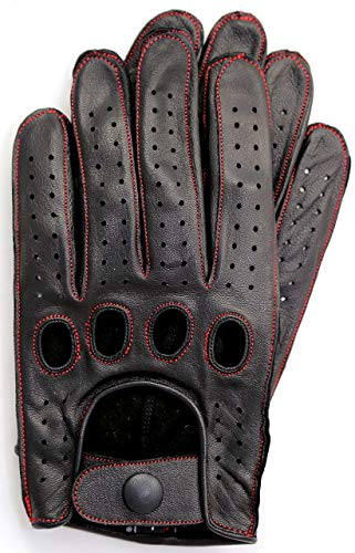 Riparo Genuine Leather Reverse Stitched Full-Finger Driving Gloves (XX-Small, Black/Red)