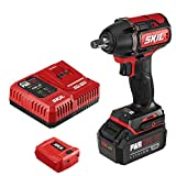 SKIL PWRCore 20 Brushless 20V 1/2 Inch Impact Wrench, Includes 5.0Ah Lithium Battery, Mobile Charging Adapter and...