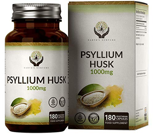 EN Psyllium Husk Capsules 1000mg | 180 Vegan Capsules | Fibre Supplement from Physillium Husks Powder | No Other Ingredients or Fillers | Perfect for Keto Flour | Non GMO & Made in The UK