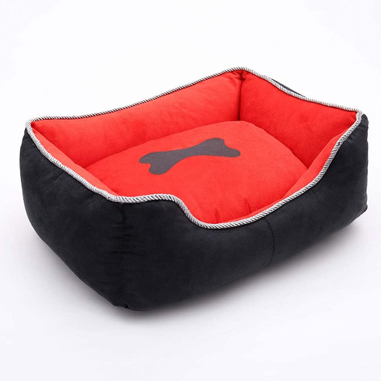 BarryL Dog Bed Cat Bed Independent Liner Removable And Washable Pet Nest Four Seasons Pet Supplies Large, Medium And Small Dogs Bones Kennel Pet Bed (color   Red, Size   M)