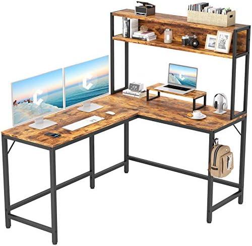 CubiCubi L Shaped Desk with Hutch 59 Corner Computer Desk Home Office Gaming Table Workstation product image