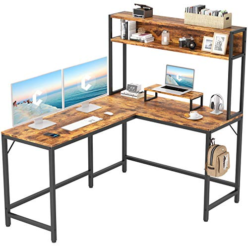 "CubiCubi L-Shaped Desk with Hutch,59"" Corner Computer Desk,Home Office Gaming Table Workstation with Storage Bookshelf"