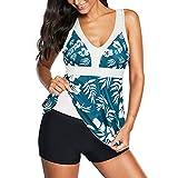 Zando Women's One Piece Swimsuits Modest Bathing Suits for Women Plus Size Swimsuits Long Torso Skirted Swimdress Slimming Swimsuit Dress Retro One Piece Bathing Suit Blue White Flower 2XL (US 16-18)