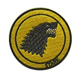 Red House Symbol Game of T-hrones Stark DirewolfMilitary Patch Fabric Embroidered Badges Patch Tactical Stickers for Clothes with Hook & Loop